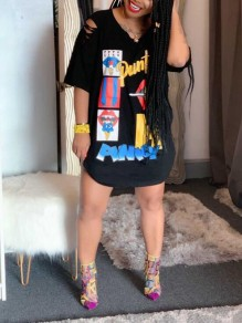 Black Cartoon Pattern Irregular Ripped Distressed Half Sleeve Casual T-Shirt Mini Dress