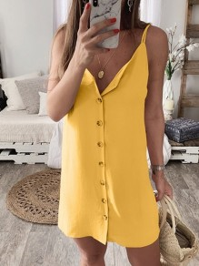 Yellow Buttons Lace Up Spaghetti Strap One Piece V-neck mini dress