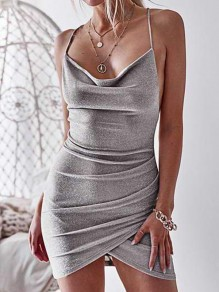 Silver Cross Back Irregular Tie Back Bodycon Sleeveless Fashion Mini Dress
