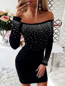Schwarz Strass Off Shoulder Langarm Bodycon Enges Minikleid Partykleid Cocktailkleid