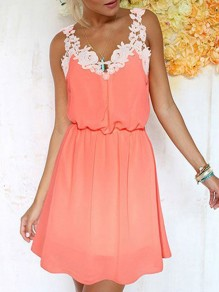Nacarat Patchwork Lace Spaghetti Strap Backless V-neck Going out Mini Dress
