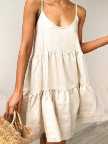 Beige Spaghetti Strap Going out Summer Ladies Casual Mini Dress
