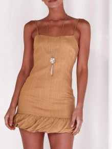 Apricot Ruffle Spaghetti Strap Off Shoulder Homecoming Party Mini Dress