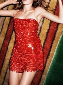 Red Patchwork Sequin Glitter Sparkly Spaghetti Strap Off Shoulder Prom Evening Party Mini Dress