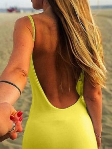 Yellow Backless Bandeau Going out Round Neck One Piece mini dress