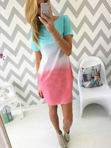 Color Block Patchwork Going out Round Neck One Piece mini dress