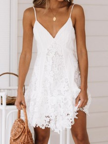 White Patchwork Lace Spaghetti Strap Backless V-neck Sweet Mini Dress