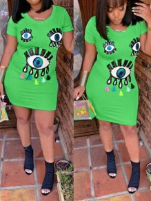 Green Sequin Eye Round Neck Short Sleeve Casual Bodycon Party Mini Dress