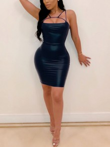 Black Spaghetti Strap Bodycon PU Leather Latex Vinly Patent Party Clubwear Mini Dress