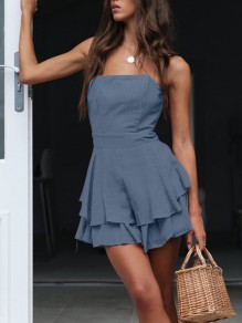 Blue Bandeau Cascading Ruffle Layers Of Bodycon Party Mini Dress