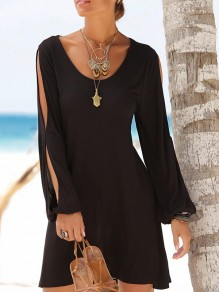 Black Cut Out Round Neck Long Sleeve Beach Casual Mini Dress