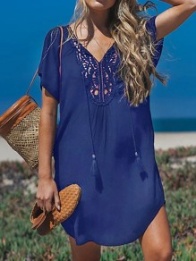 Blue Cut Out Tassel V-neck Bohemian Beach Cover Up Summer Mini Dress