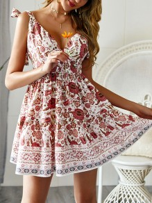 Beige Floral Knot Wavy Edge Skater Going out Mini Dress