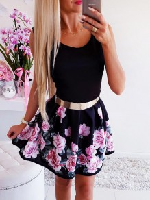 Black Floral Buckles Wavy Edge Cloak cute mini dress Sweet Mini Dress