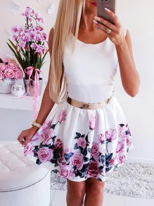 White Floral Buckles Wavy Edge Cloak cute mini dress Sweet Mini Dress