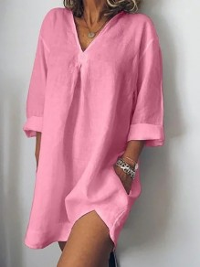 Pink Pockets Slit Bodycon Comfy V-neck 3/4 Sleeve Going out Mini Dress