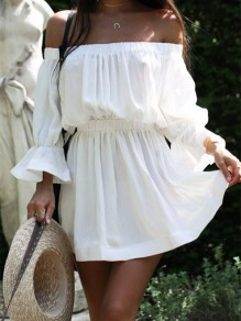 White Patchwork Ruffle Off Shoulder Elegant Mini Dress