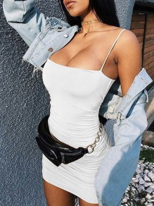 White Pleated Spaghetti Strap Off Shoulder Bodycon Clubwear Fashion Skater Mini Dress