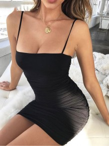 Black Pleated Spaghetti Strap Bodycon Off Shoulder Clubwear Fashion Skater Mini Dress