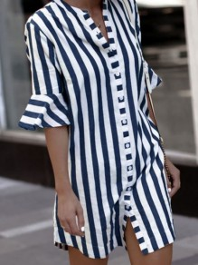 Blue-White Striped Single Breasted V-neck Elbow Sleeve Casual Blouses Mini Dress