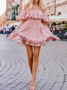 Pink Ruffle Pleated Off Shoulder Spaghetti Strap Chiffon Fashion Mini Dress