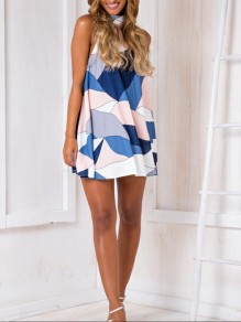 White-Blue Print Floral Going out Comfy Fashion One Piece mini dress