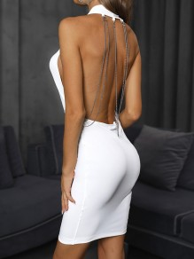 White Patchwork Chain Halter Neck Backless Deep V-neck Bodycon Fashion Mini Dress