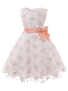 Kid's Pink Flower Formal Sashes Dresses Wedding Party Mini Dress
