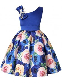Kid's Blue Flower Formal Sashes Dresses Wedding Party Mini Dress