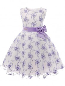 Kid's Purple Flower Formal Sashes Dresses Wedding Party Mini Dress