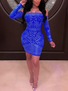 Blue Patchwork Rhinestone Off Shoulder Bodycon Sparkly Glitter Birthday Party Mini Dress