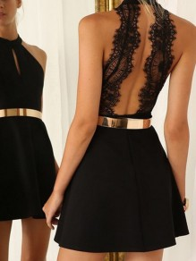 Black Patchwork Lace Backless Cut Out Bodycon Going out Mini Dress