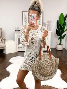 White Cut Out Going out Comfy Fashion mini dress