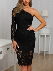 Black Patchwork Lace Asymmetric Shoulder Backless Prom Evening Party Mini Dress