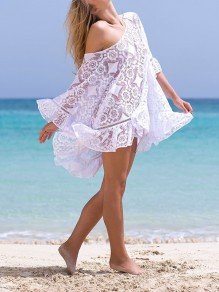 White Patchwork Lace Asymmetric Shoulder Long Sleeve Bohemian Mini Dress