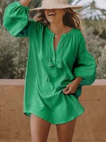 Green Patchwork Tassel Bodycon Round Neck Long Sleeve Going out Mini Dress