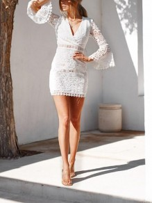 White Patchwork Lace Going out Comfy Fashion One Piece mini dress