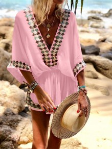 Pink Going out Comfy Fashion High Waisted Short Jumpsuit