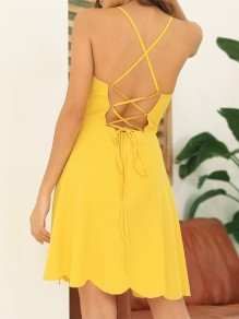 Yellow Cross Back Wavy Edge Draped Spaghetti Strap Lace Up Fashion Mini Dress