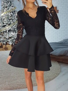 Black Patchwork Lace Ruffle V-neck Long Sleeve Elegant Bridesmaid Prom Homecoming Party Mini Dress