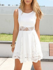 White Patchwork Lace Cut Out Bodycon Chiffon Bohemian Mini Dress