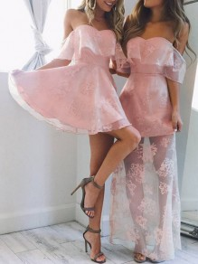 Pink Patchwork Lace Grenadine Ruffle Off Shoulder Sweet Mini Dress