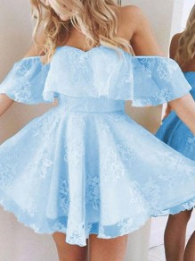 Blue Patchwork Lace Grenadine Ruffle Off Shoulder Sweet Mini Dress