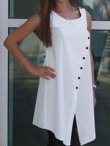 White Irregular Fashion Going out Comfy One Piece mini dress