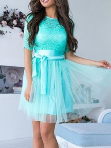Green Patchwork Grenadine Lace Sashes Elbow Sleeve Sweet Bridesmaid Prom Mini Dress