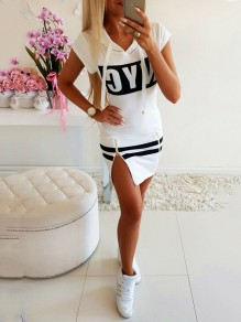 White Monogram Zipper Drawstring Bodycon Ausgehen Mini Dress