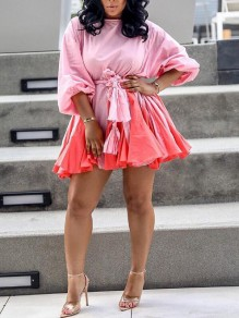 Pink-Red Patchwork Draped 3/4 Sleeve Sashes Skater Homecoming Tutu Banquet Party Mini Dress