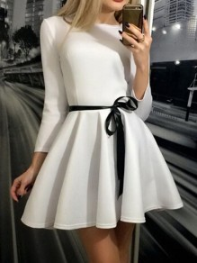 White Pleated Belt Long Sleeve Round Neck Homecoming Party Bridesmaid Prom Mini Dress