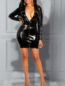 Black Zipper Pu Leather Deep V-neck Bodycon Latex Rubber Banquet Party Mini Dress