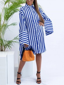 Blue-White Striped Buttons Bell Sleeve Casual Blouses Mini Dress